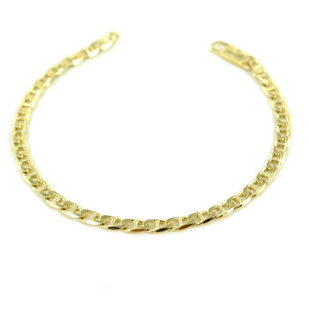 Bracciale da uomo in oro giallo a maglia traversino