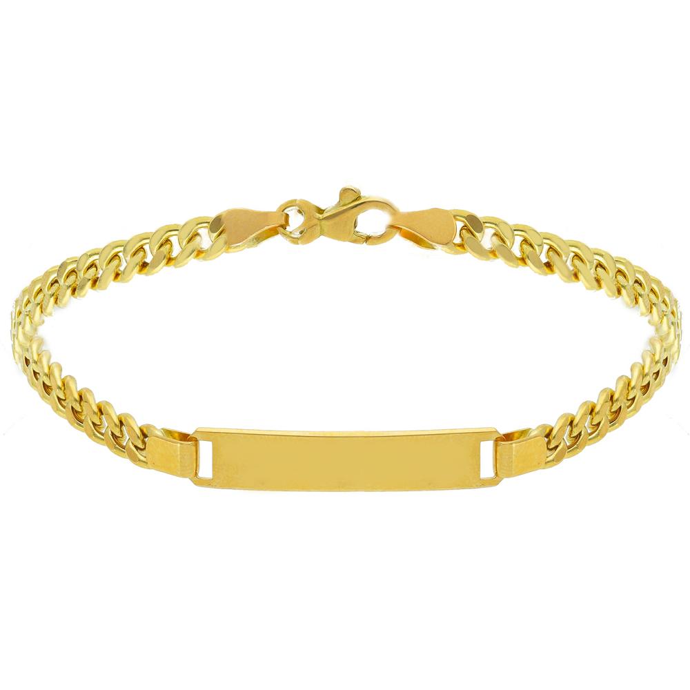 Bracciale da uomo in oro giallo con targhetta maglia groumette 21 cm LARGE