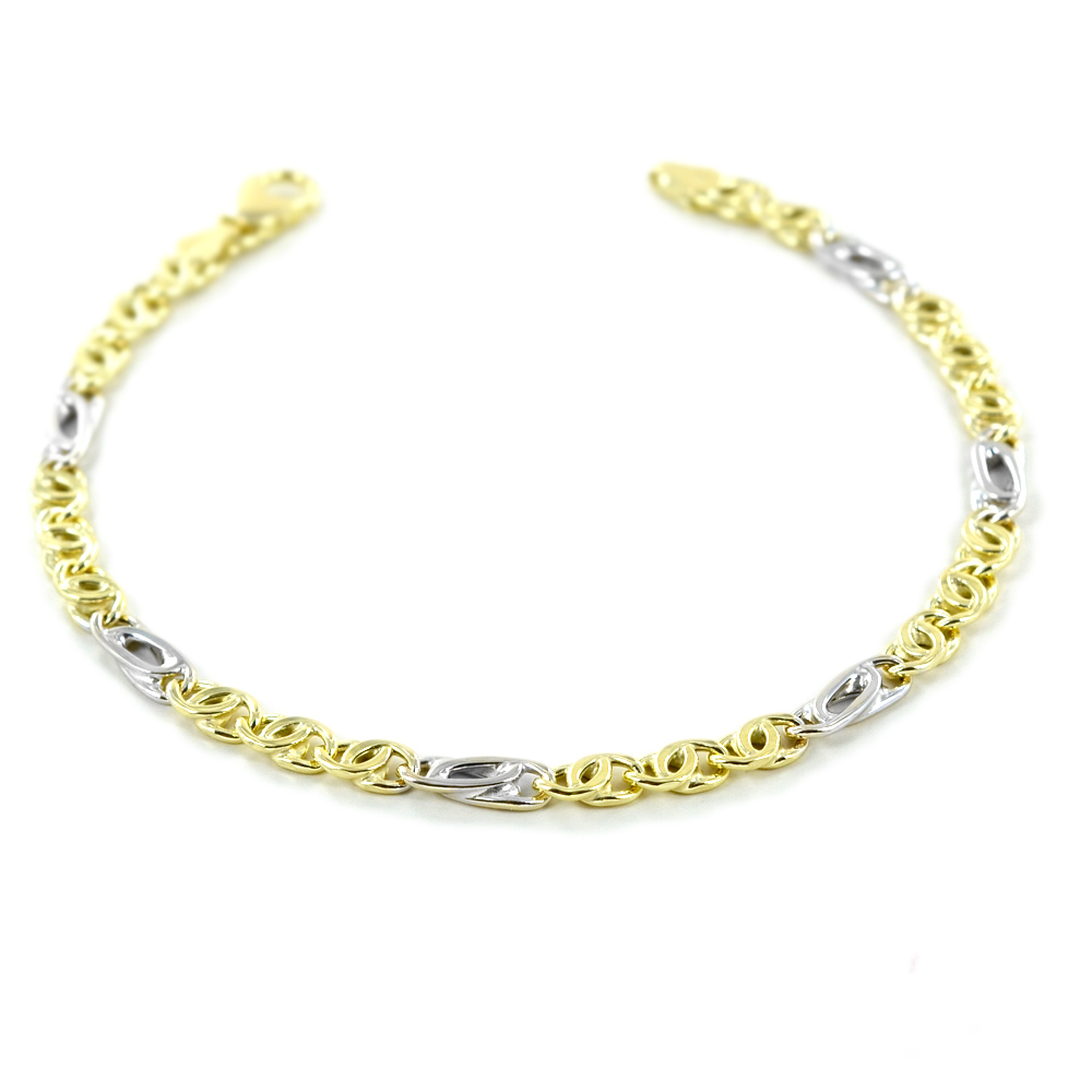 Bracciale da uomo in oro giallo e bianco a maglia occhio di pernice