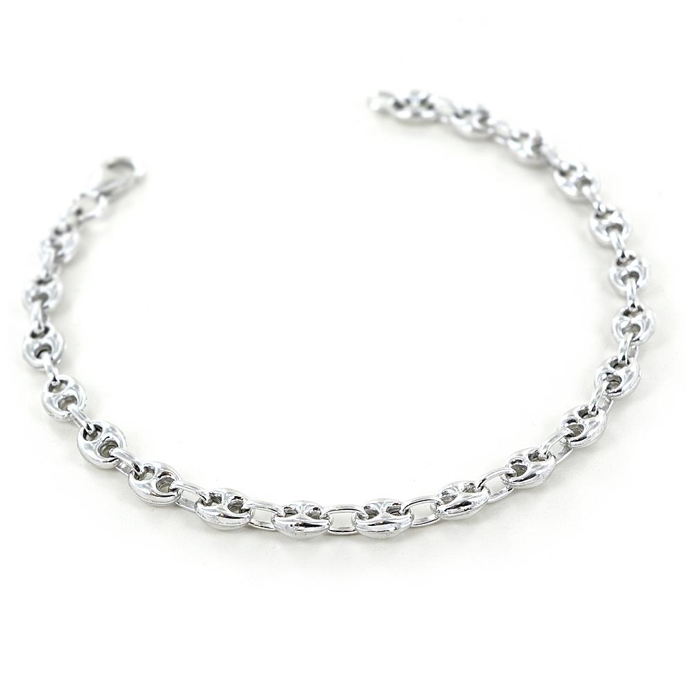 Bracciale da uomo maglia marina in argento bracciale nautico piccolo