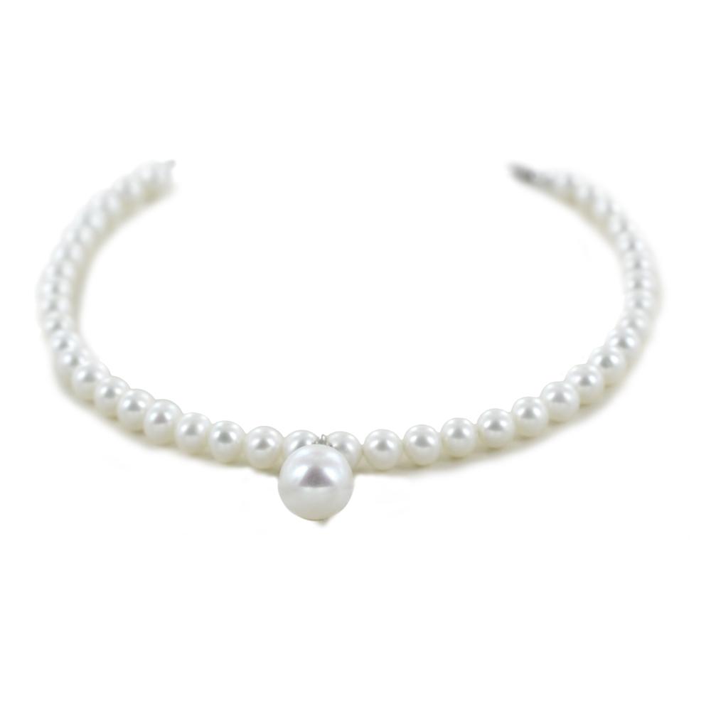 Bracciale di perle Freshwater 4.50 - 5.00 mm e ciondolo perla