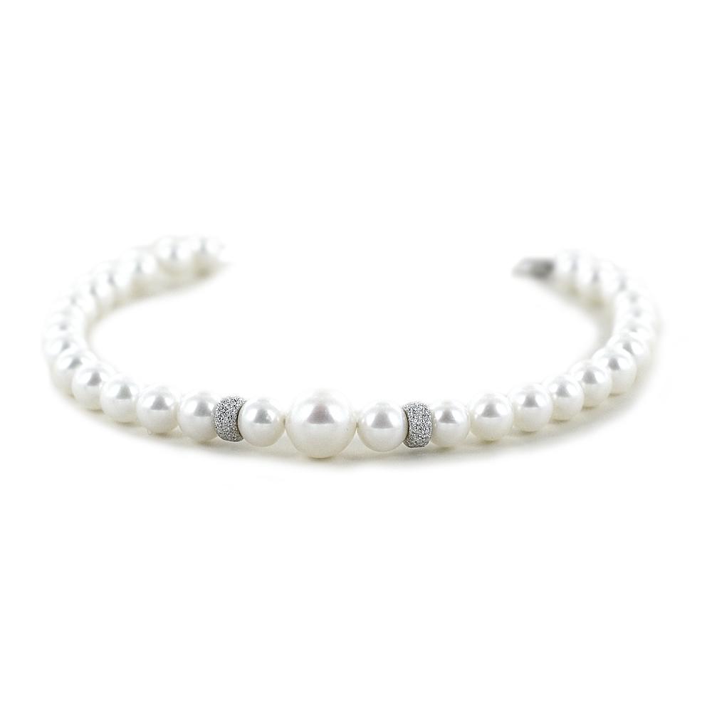 Bracciale di perle Freshwater 5.50 - 6.00 mm e anelli in oro