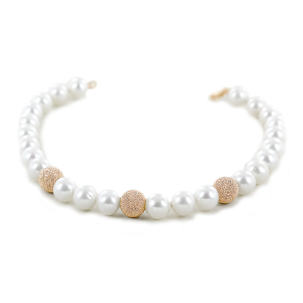 Bracciale di perle Freshwater 6.50 - 7.00 mm e sfere in oro rosa