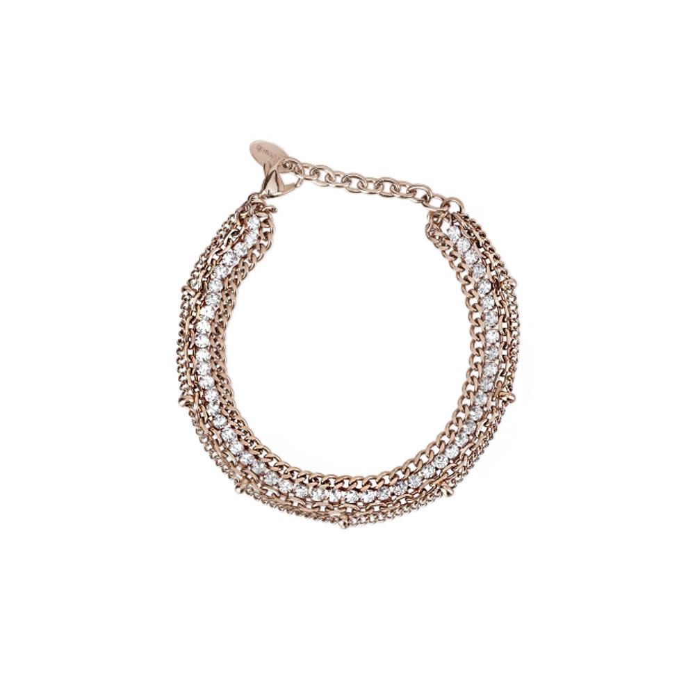 Bracciale Donna 2Jewels in Acciaio PVD rosa e cristalli bianchi collezione Mix e Match 232117