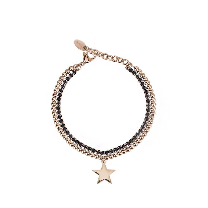 Bracciale Donna 2Jewels in Acciaio PVD rosa e cristalli neri collezione Shine 232115