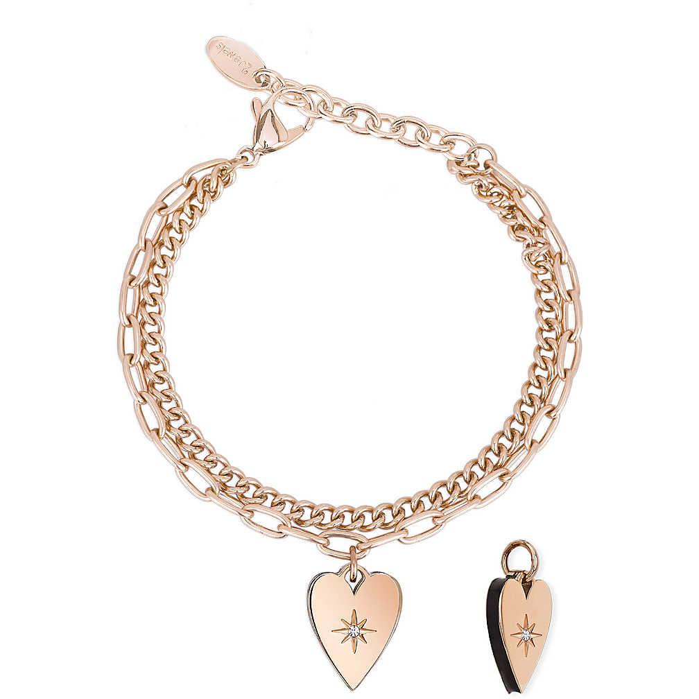 Bracciale Donna 2Jewels Regina di Cuori con ciondolo cuore rosa 232141