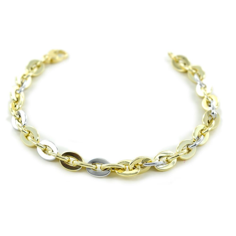 Bracciale Donna a catena in oro giallo e bianco bicolore