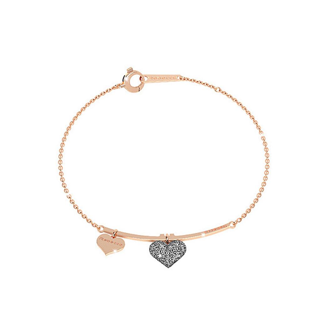 Bracciale donna gioielli Rebecca Jolie in argento rosato CUORE SJOBAR03