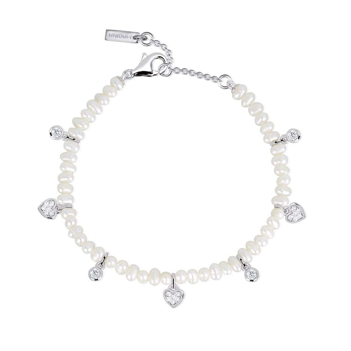 Bracciale Donna Mabina in Argento e Perle con Zirconi Cuori