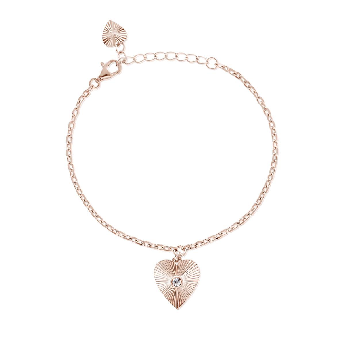 Bracciale Donna Mabina in Argento rosato con charm cuore raggi di luce 533405
