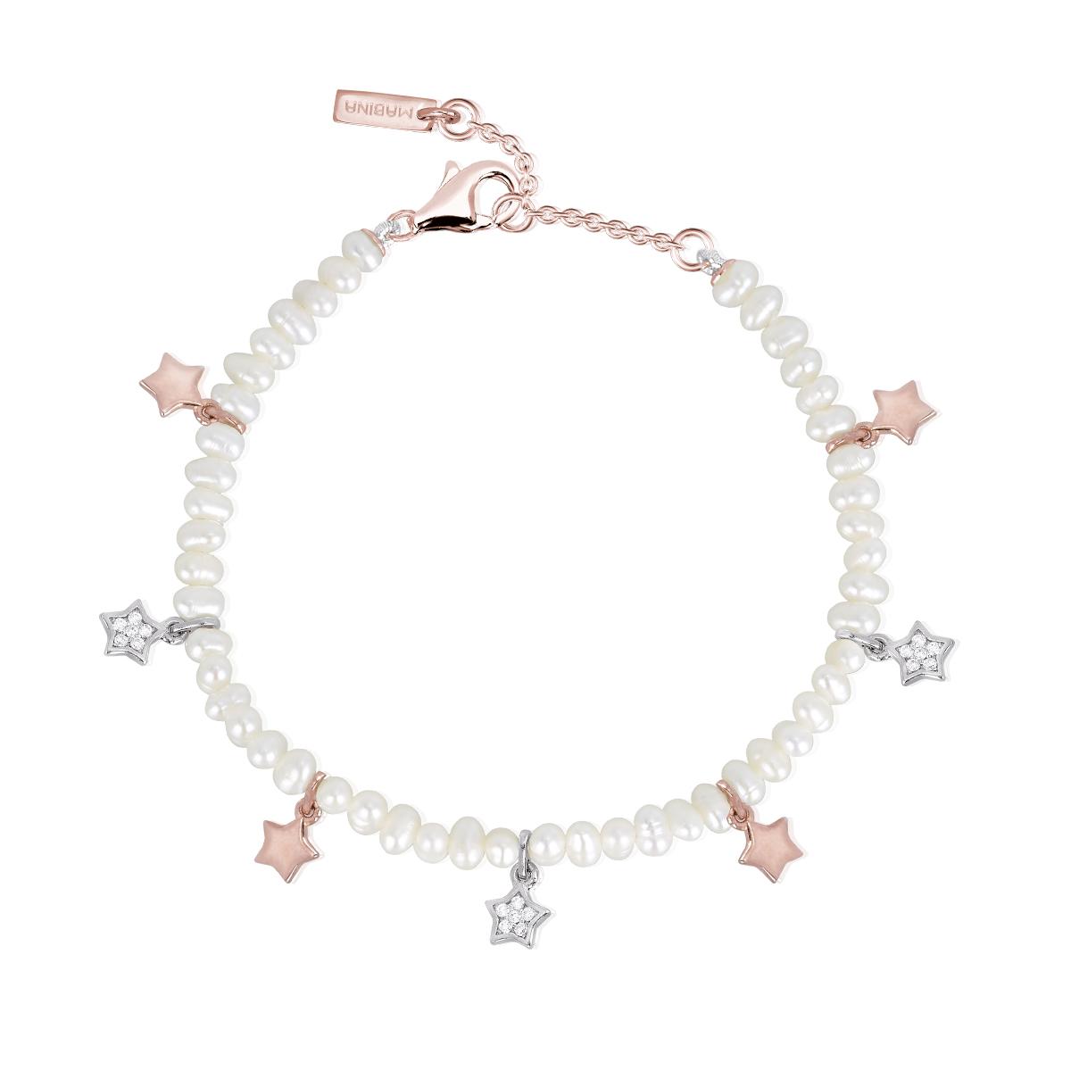 Bracciale Donna Mabina in Argento rosato e perle con stelle e zirconi