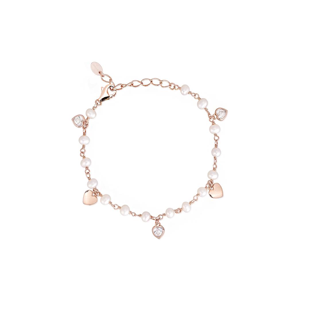 Bracciale Donna Mabina in Argento Rosato Zirconi e perle coltivate 533318