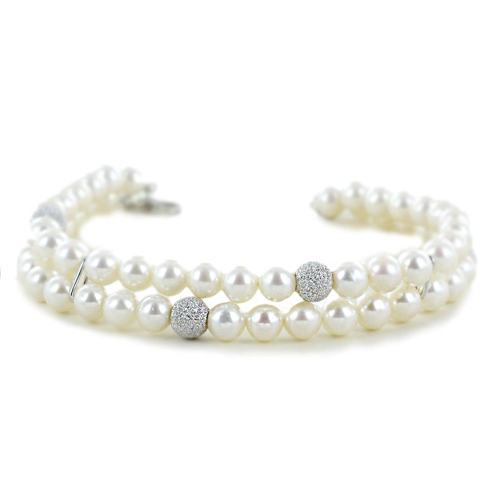 Bracciale doppio Filo di Perle Freshwater 5.50 - 6.00 mm con sfere diamantate