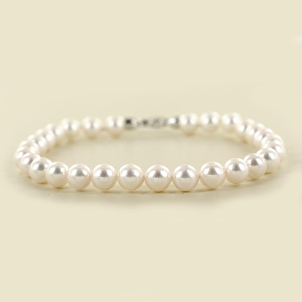 Bracciale filo di perle Akoya 6.00-6.50 mm con diamante sulla chiusura