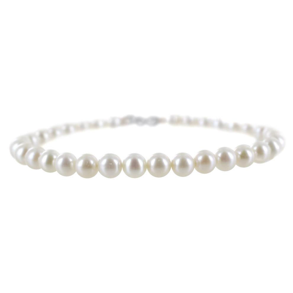 Bracciale Filo di perle Freshwater 5-5.50 mm con chiusura in oro