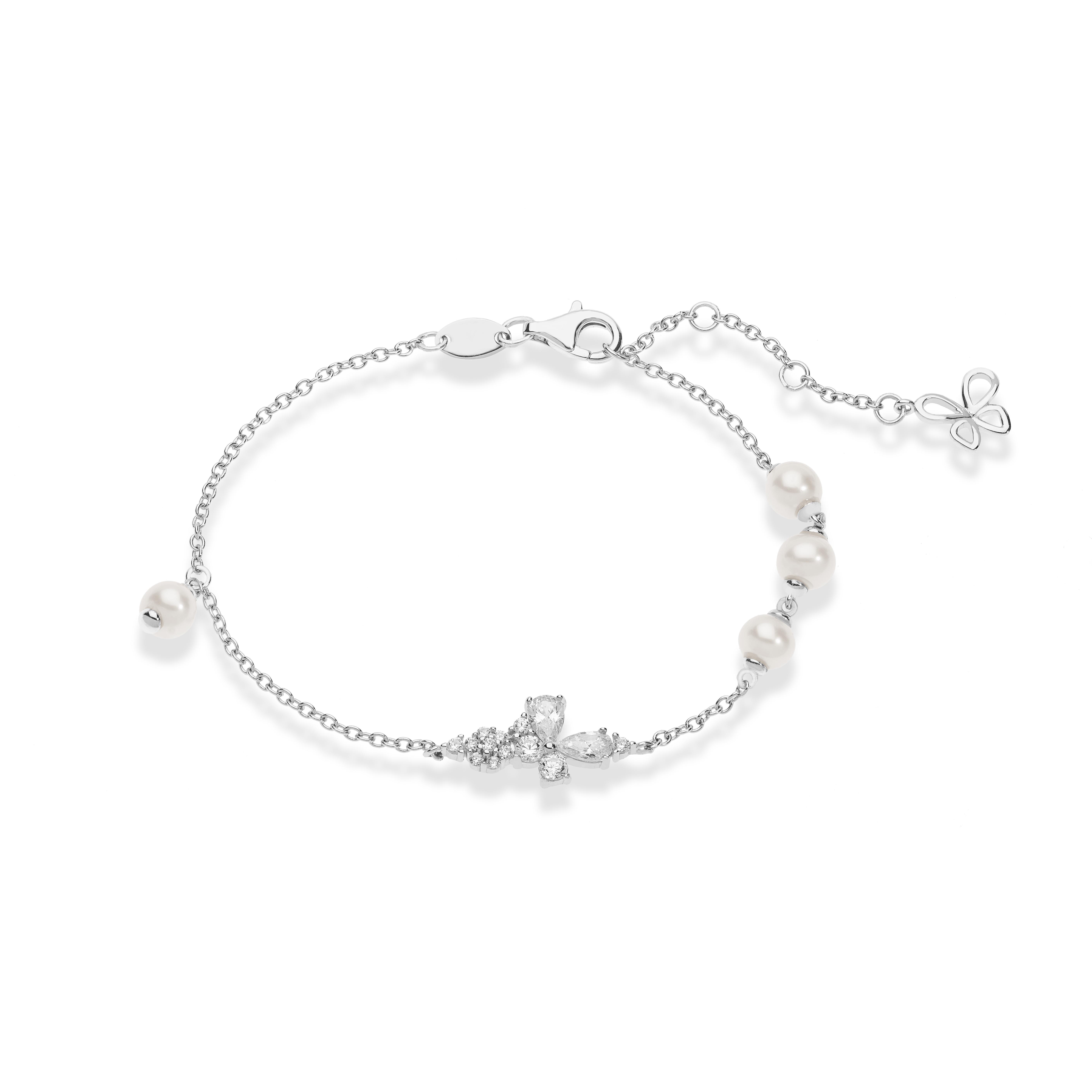 Bracciale in argento Comete Gioielli con zirconi e perle BRA 167