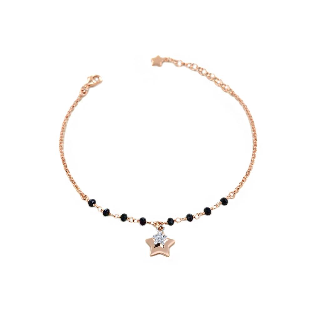 Bracciale in argento con charm stella cristalli neri