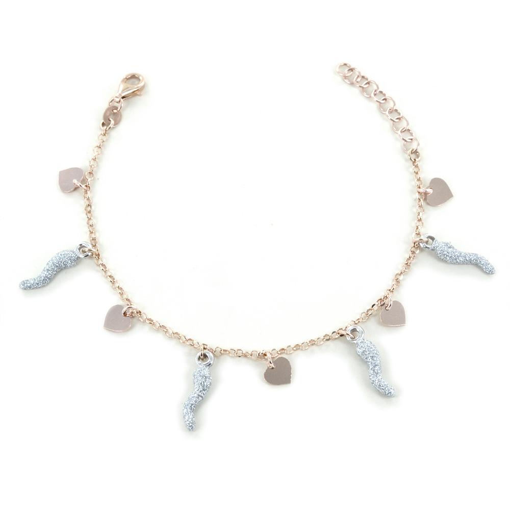 Bracciale in argento con charms cuori e corni glitter
