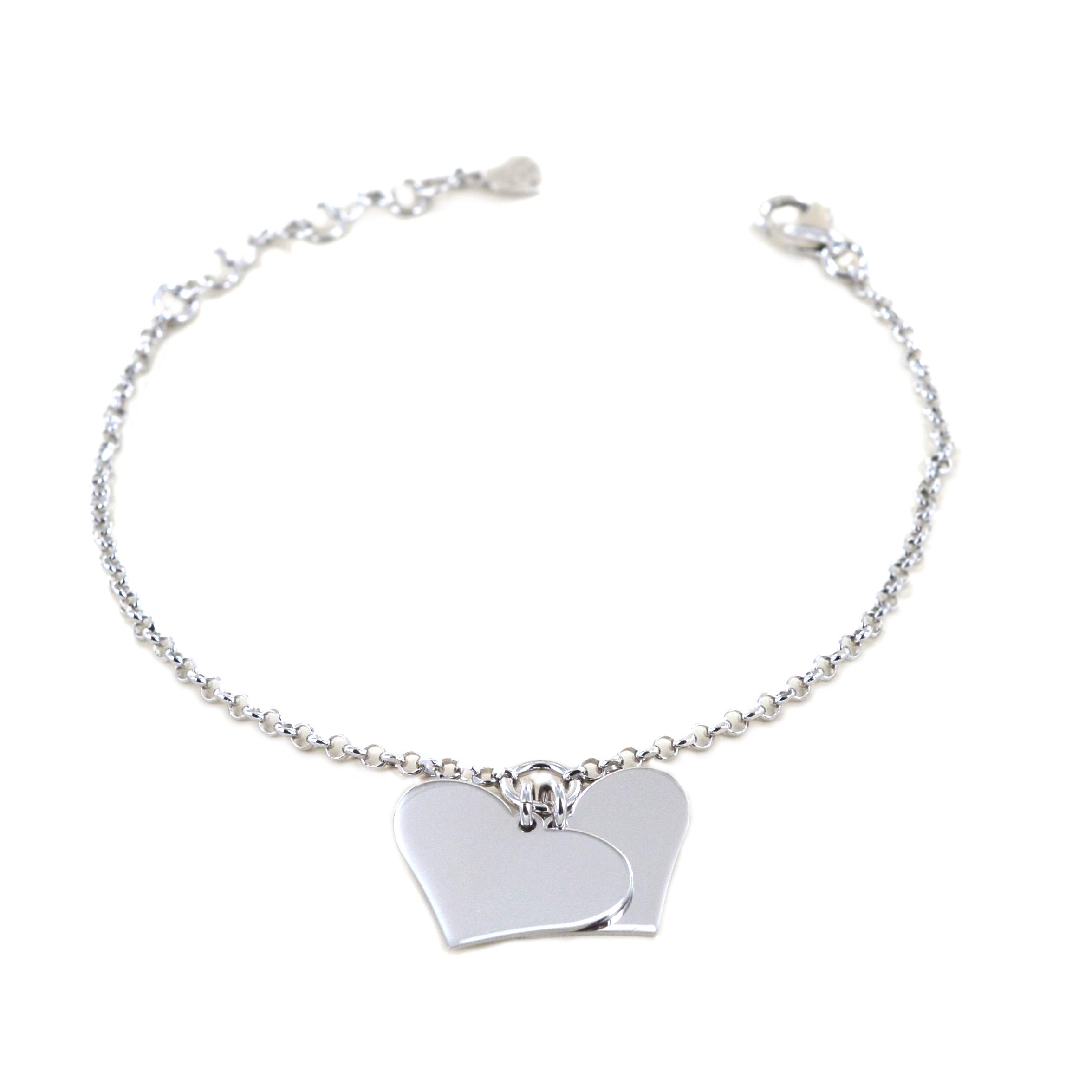 Bracciale in argento con ciondolo cuori a lastra personalizzabili