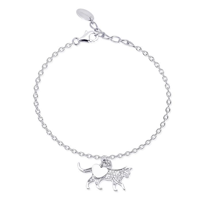 Bracciale donna Mabina in argento con Gatto e zirconi 533219