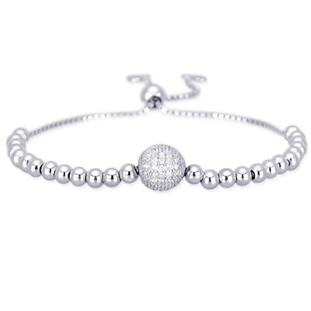 Bracciale in argento con sfera con zirconi Mabina Gioielli