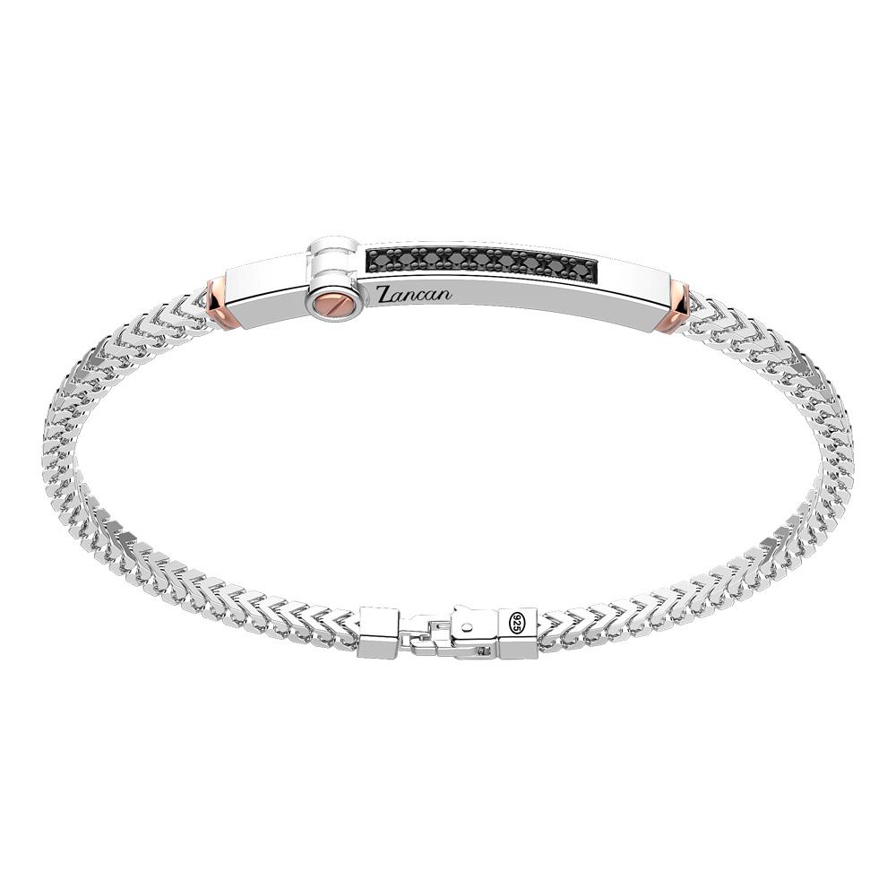 Bracciale in argento da uomo groumette e targhetta in oro rosa  EXB 895 R