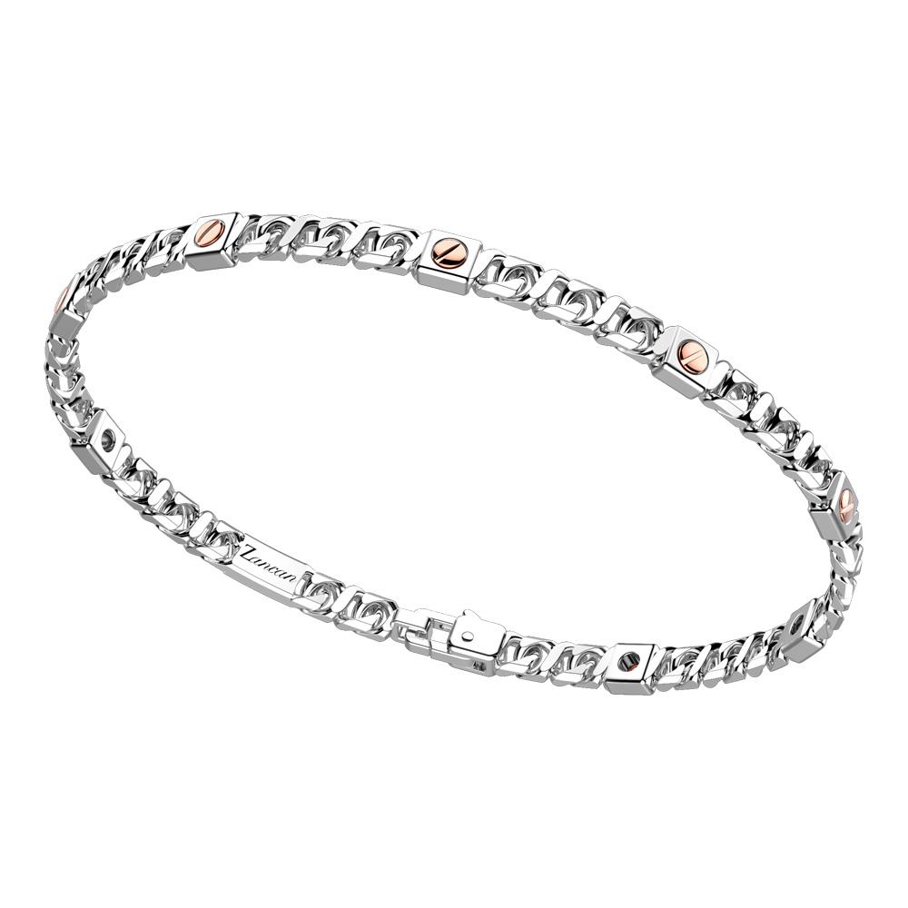 Bracciale in argento da uomo groumette e viti in oro rosa  EXB 892 R