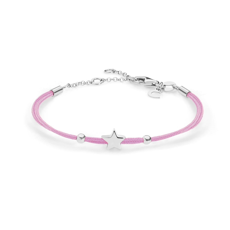 Bracciale in Argento e tessuto rosa Comete Gioielli