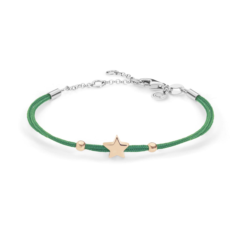 Bracciale in Argento e tessuto verde Comete Gioielli