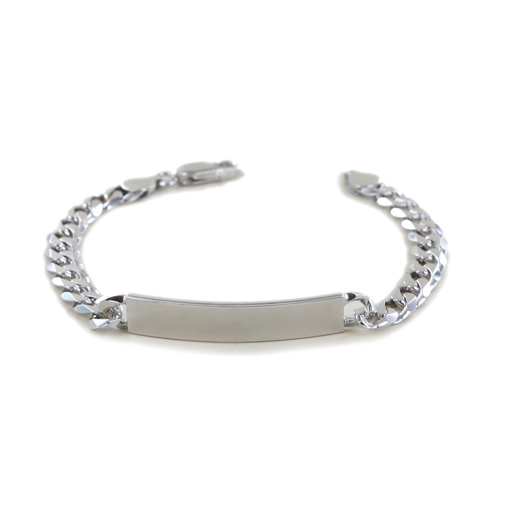 Bracciale in argento lucido con targhetta per incisione Big size