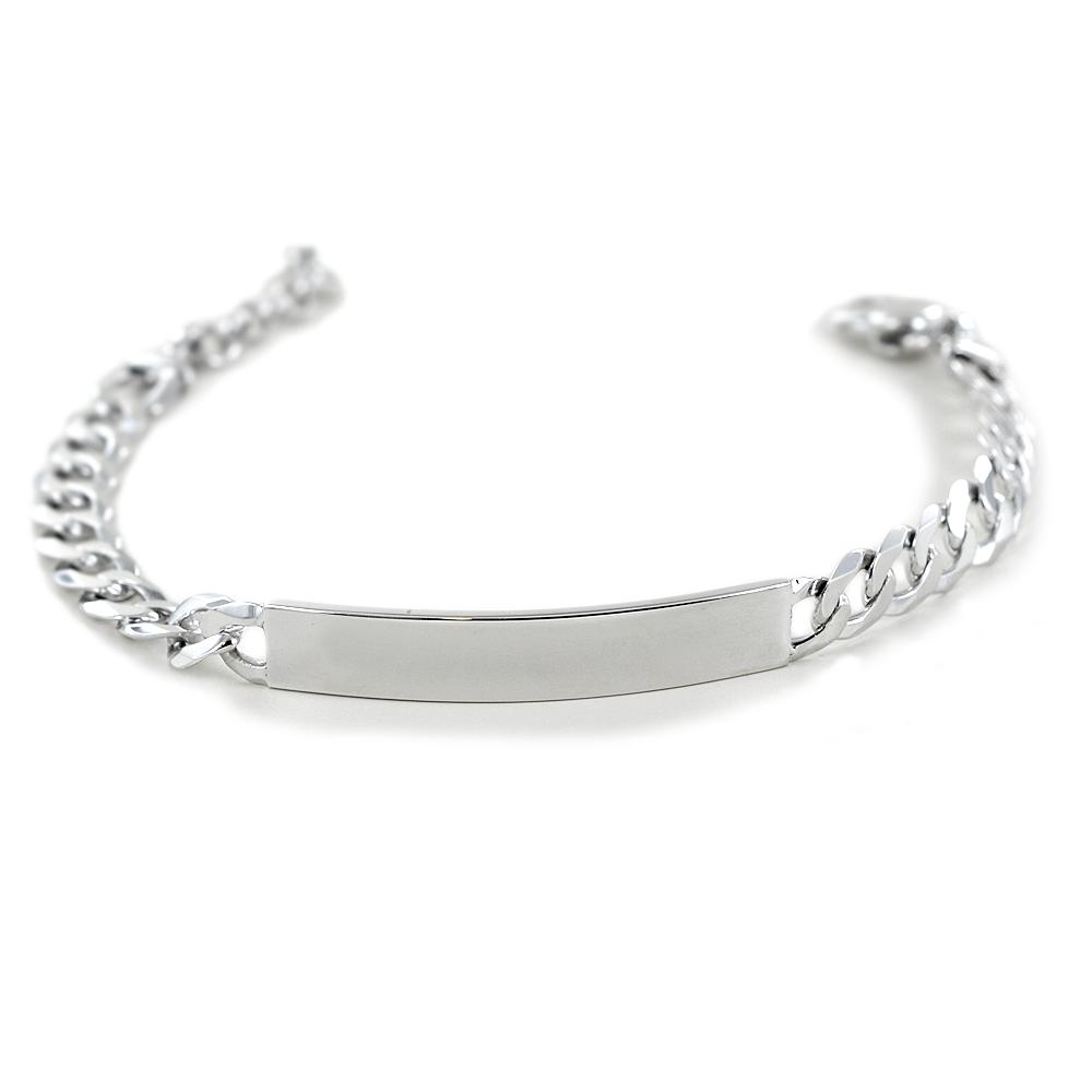 Bracciale in argento lucido con targhetta per incisione medium
