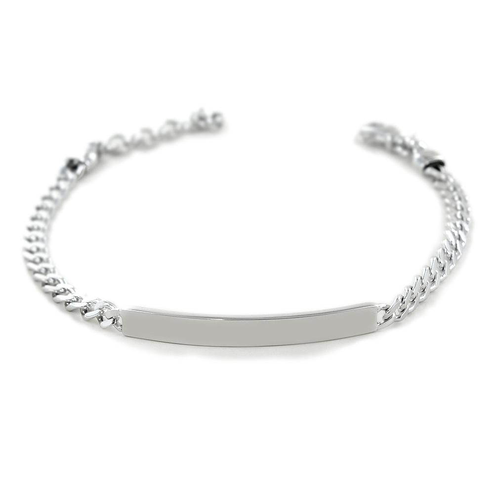 Bracciale in argento lucido con targhetta per incisione small