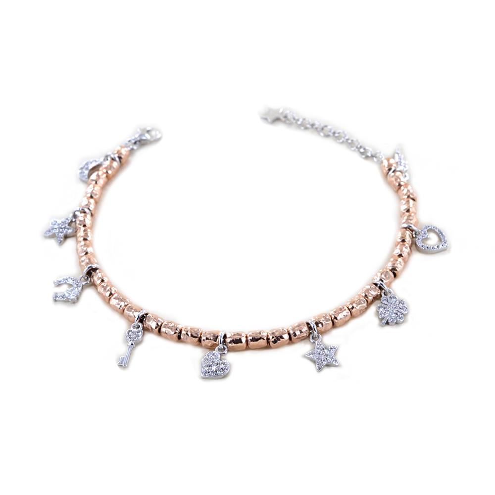 Bracciale in argento rosato con charm Portafortuna con silver e zirconi