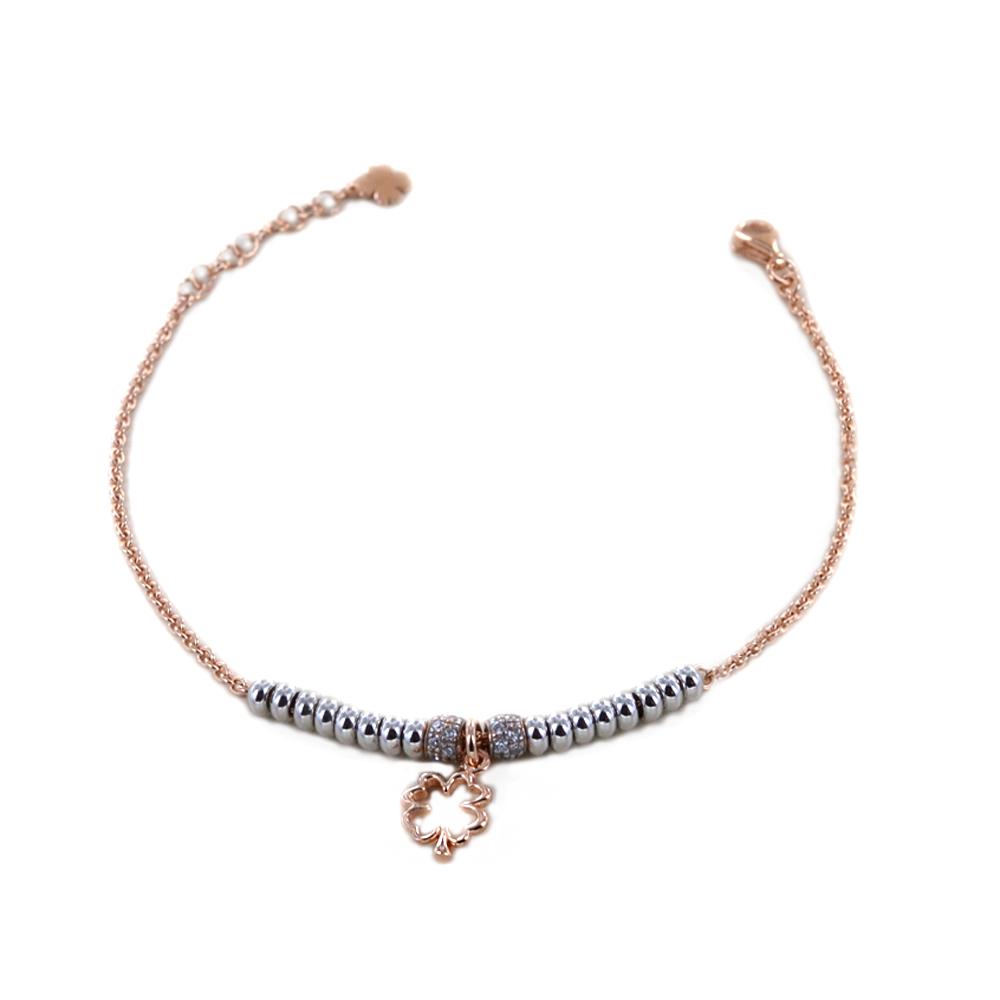 Bracciale in argento rosato con charm Quadrifoglio sfere silver e zirconi