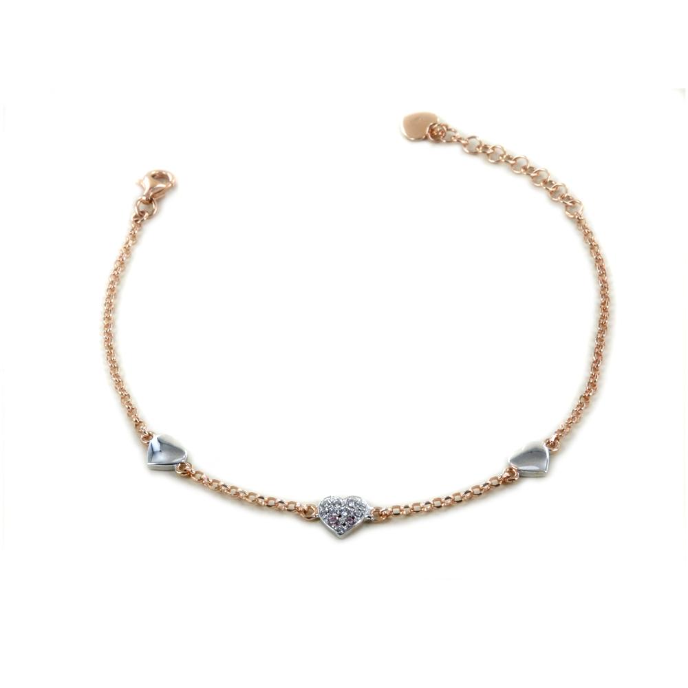 Bracciale in argento rose con cuori e zirconi