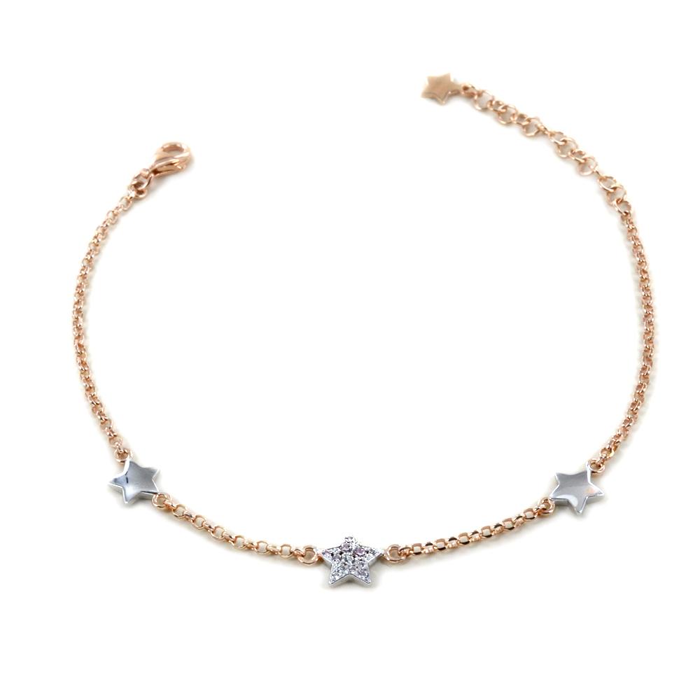 Bracciale in argento rose con stelle e zirconi