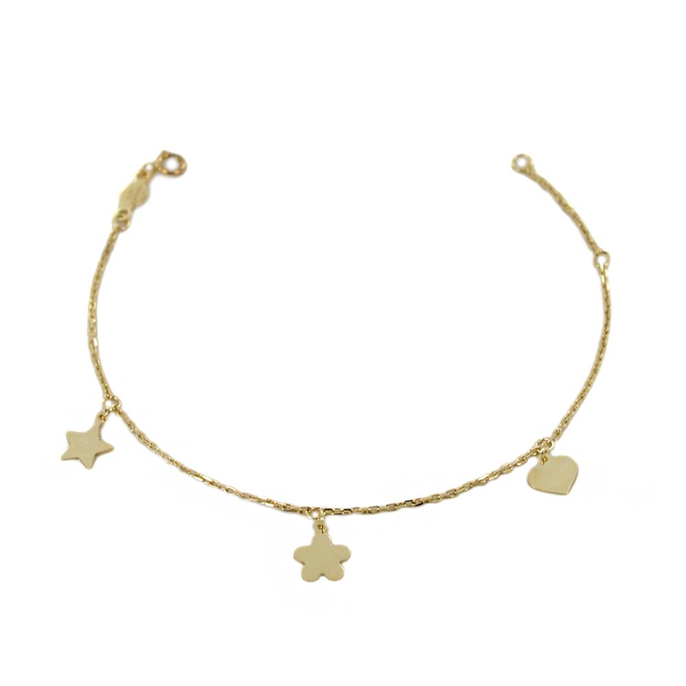 Bracciale in oro 9 kt con charms Cuore Stella Quadrifoglio