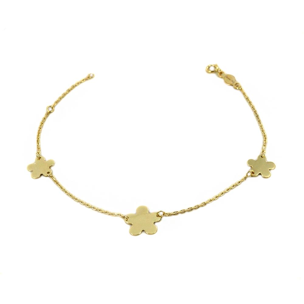 Bracciale in oro 9 kt con charms Quadrifoglio