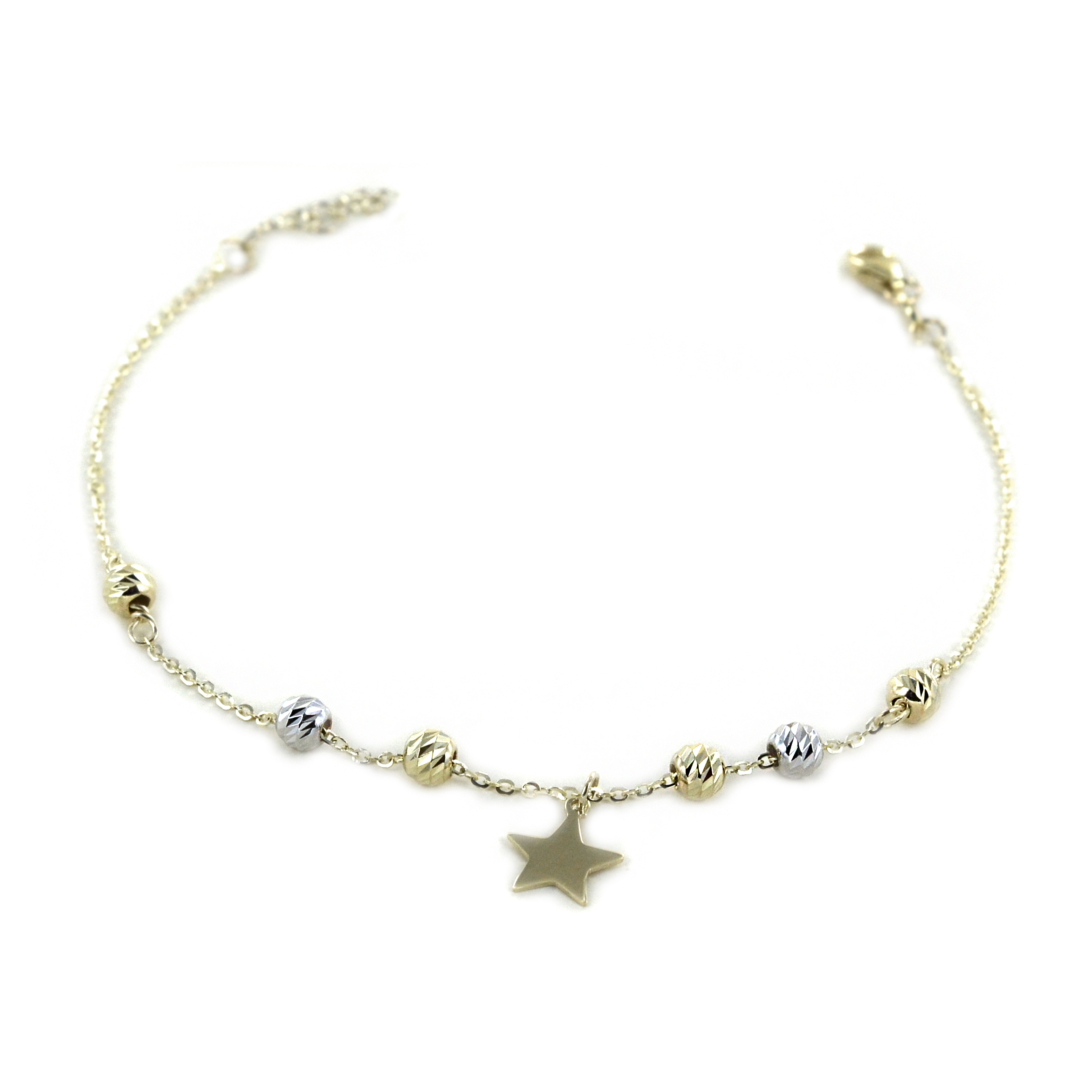 Bracciale in oro con charm stella e sfere luminose