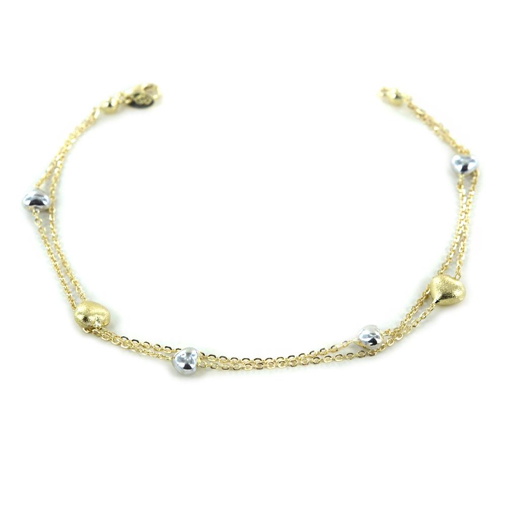 Bracciale in oro con cuori a doppia catena