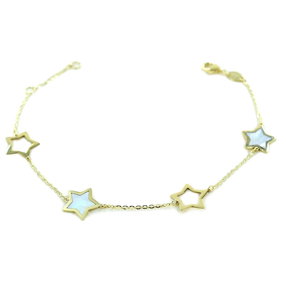 Bracciale in oro con stelle traforate e in madreperla