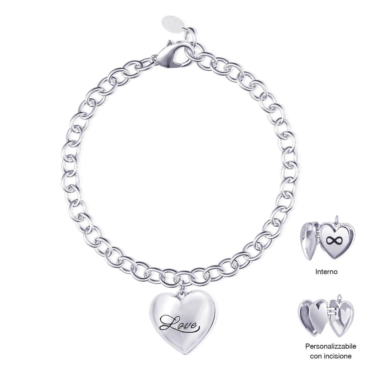 Bracciale Mabina in argento con Cuore apribile Infinito 533242