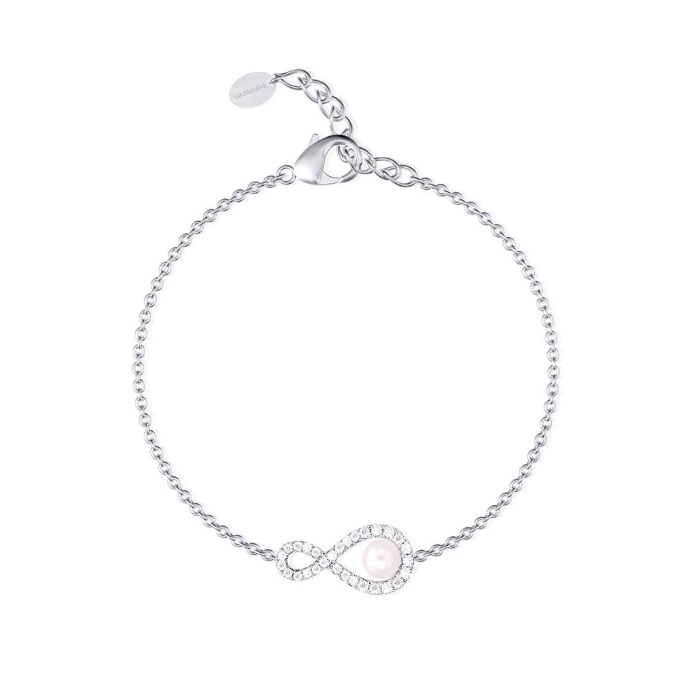 Bracciale Mabina in argento con zirconi e perla coltivata