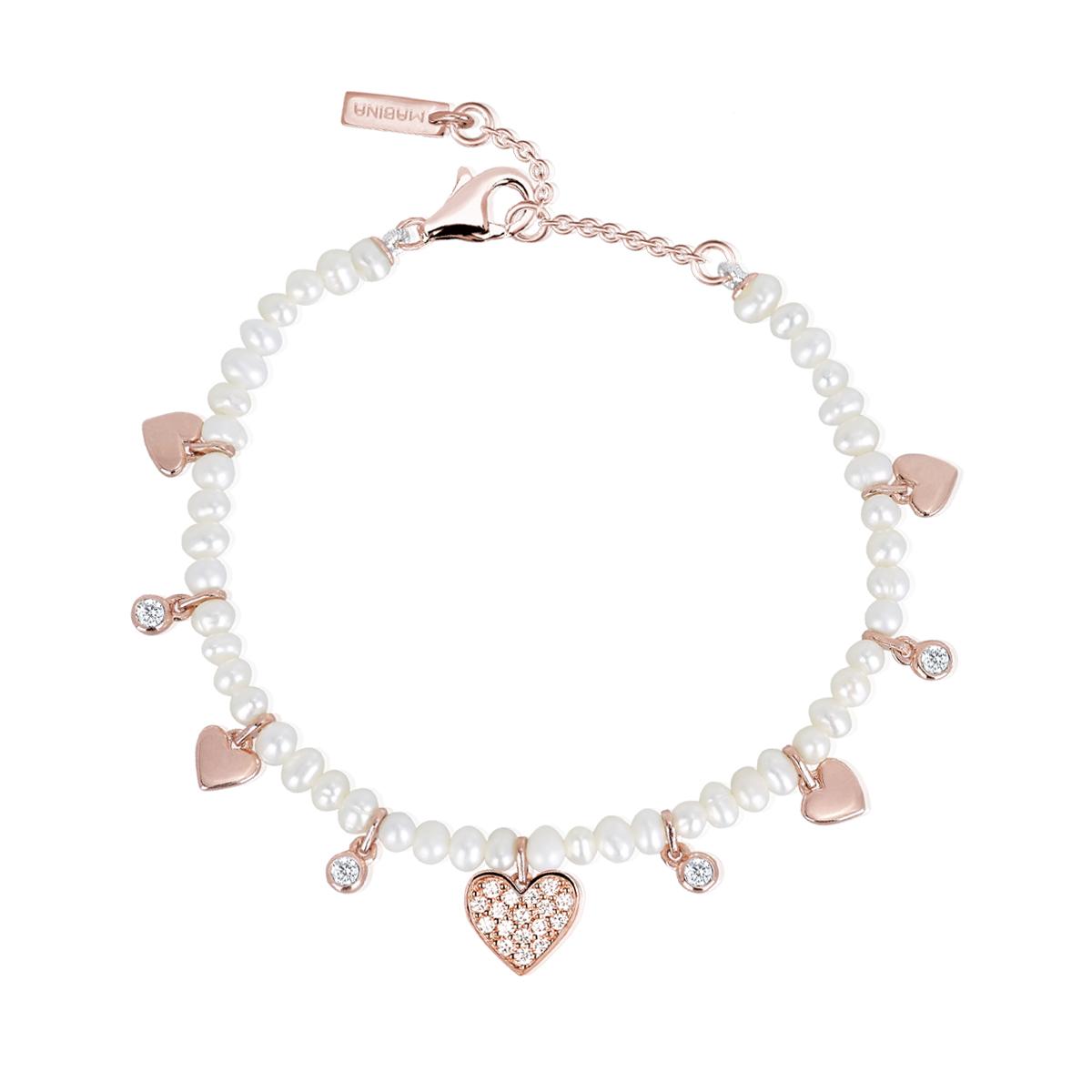 Bracciale Mabina in Argento rosato con perle e zirconi