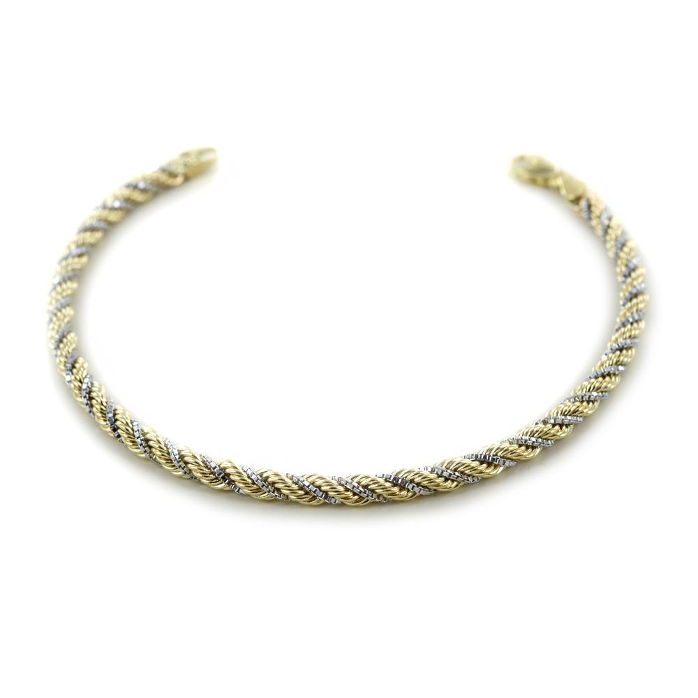 Bracciale maglia fune in oro giallo e bianco 18 cm