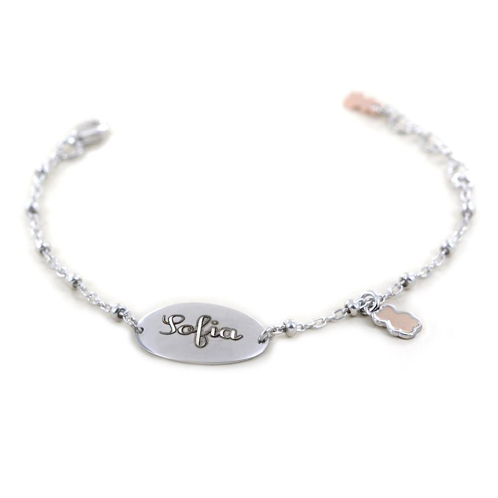 Bracciale Nanan da bambino personalizzabile in argento NAN0060