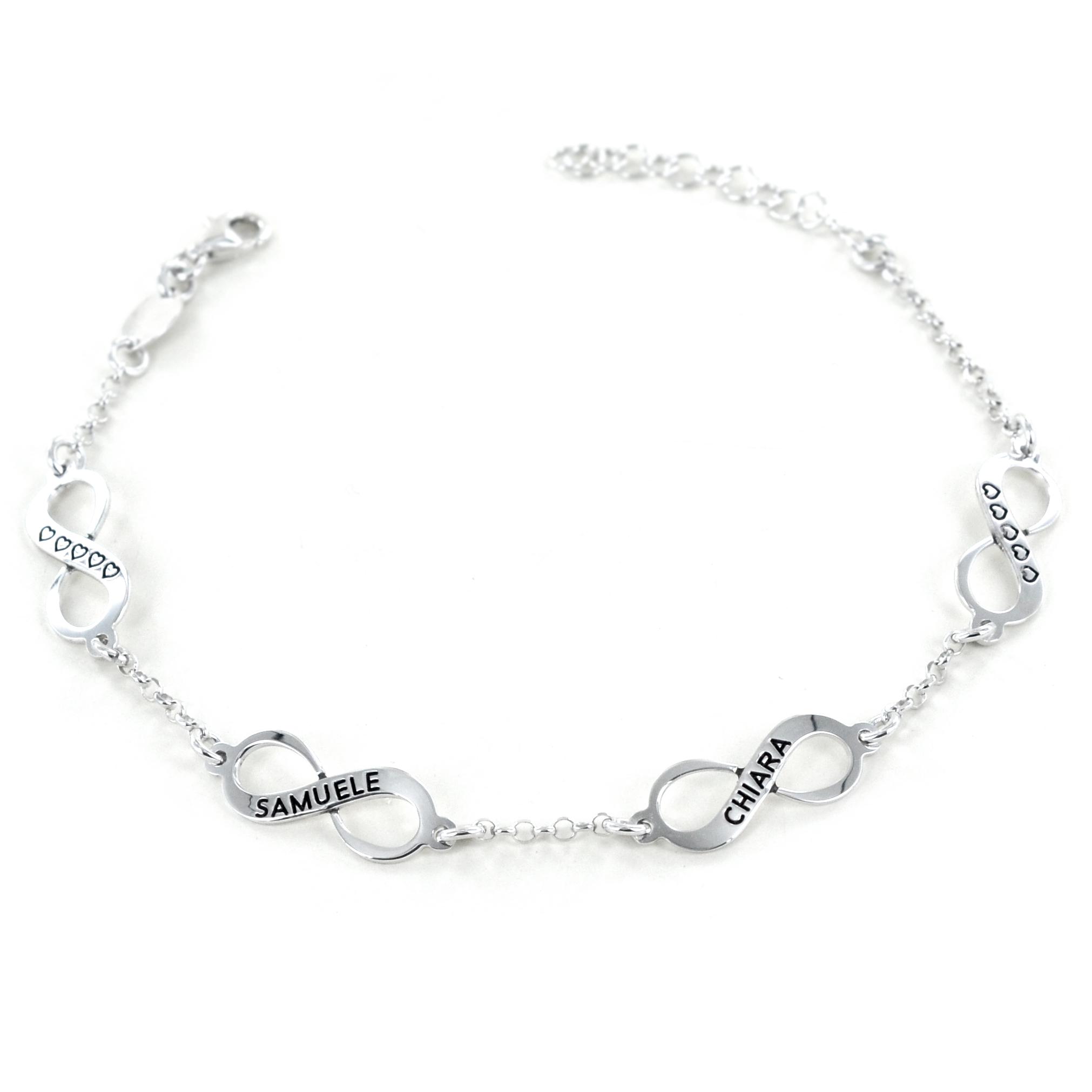 Bracciale personalizzabile con simbolo infinito in argento