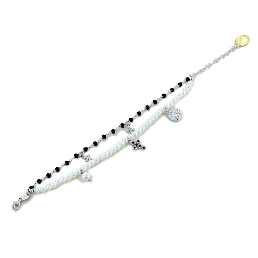 Bracciale religioso Agios gioielli con perle Angelo Cherubino e cristalli neri