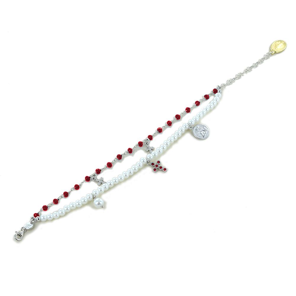 Bracciale religioso Agios gioielli con perle Angelo Cherubino e cristalli rossi