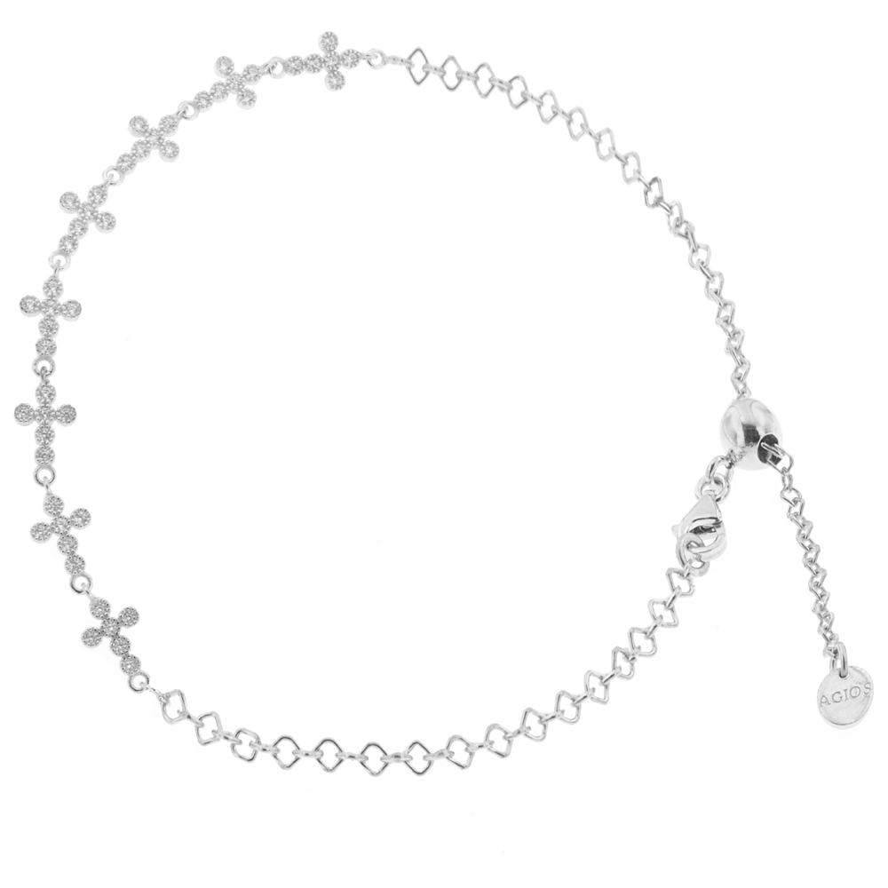 Bracciale religioso in argento con Croci e Zirconi bianchi
